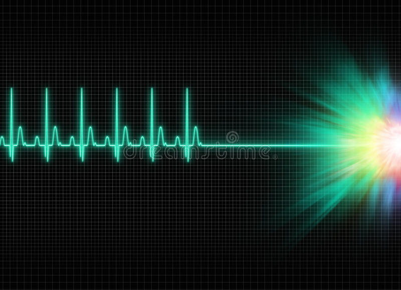 Exitus. A mystic electrocardiography exitus illustration in dark screen background stock illustration
