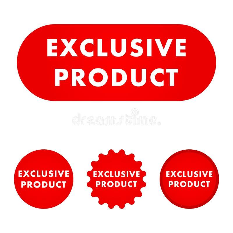 Exklusiv produktknapp royaltyfri illustrationer