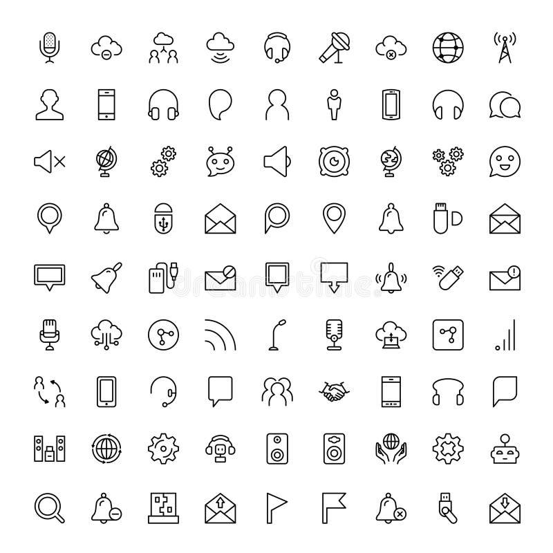 Exklusiv tunn linje symbolsuppsättning royaltyfri illustrationer
