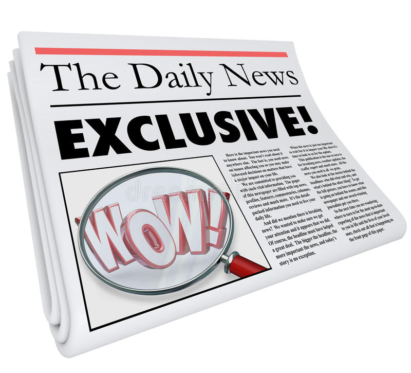 Exklusiv uppdatering för varning för nyheterna för artikel för tidningsberättelse endast här stock illustrationer