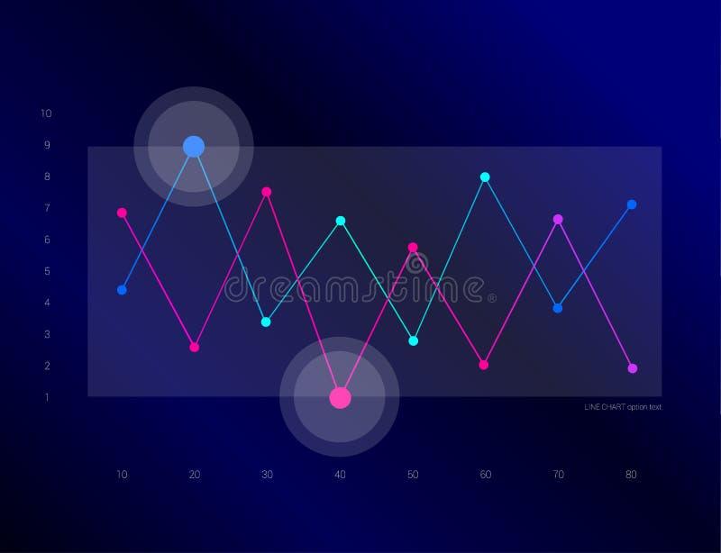 Exklusives dunkelblaues Geschäftsdiagramm, Diagramm Zeile Auslegung lizenzfreie abbildung