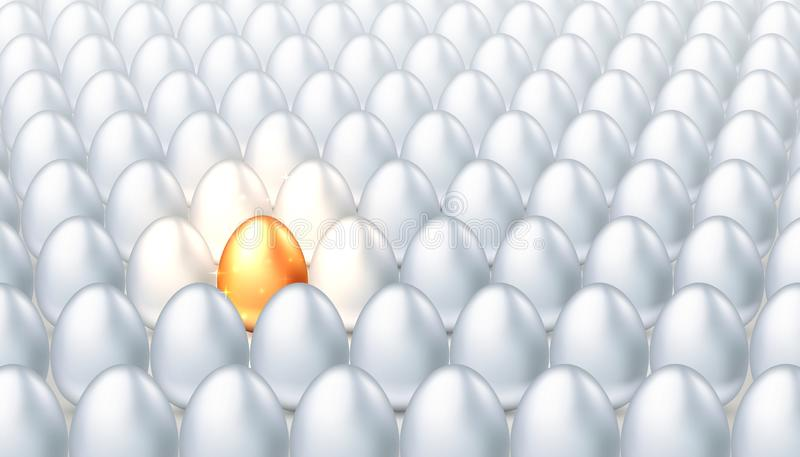 Exklusivt guld- ägg i en folkmassa av vanliga vita ägg, begreppet av kreativitet, exclusivity, framgång Ljus egenart royaltyfri illustrationer