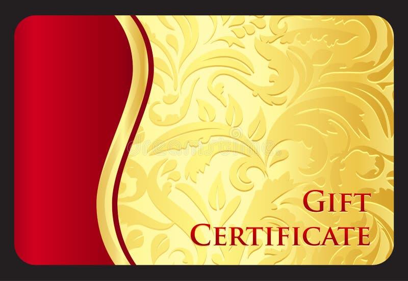 Exklusivt guld- gåvakort med victorianmodellen stock illustrationer
