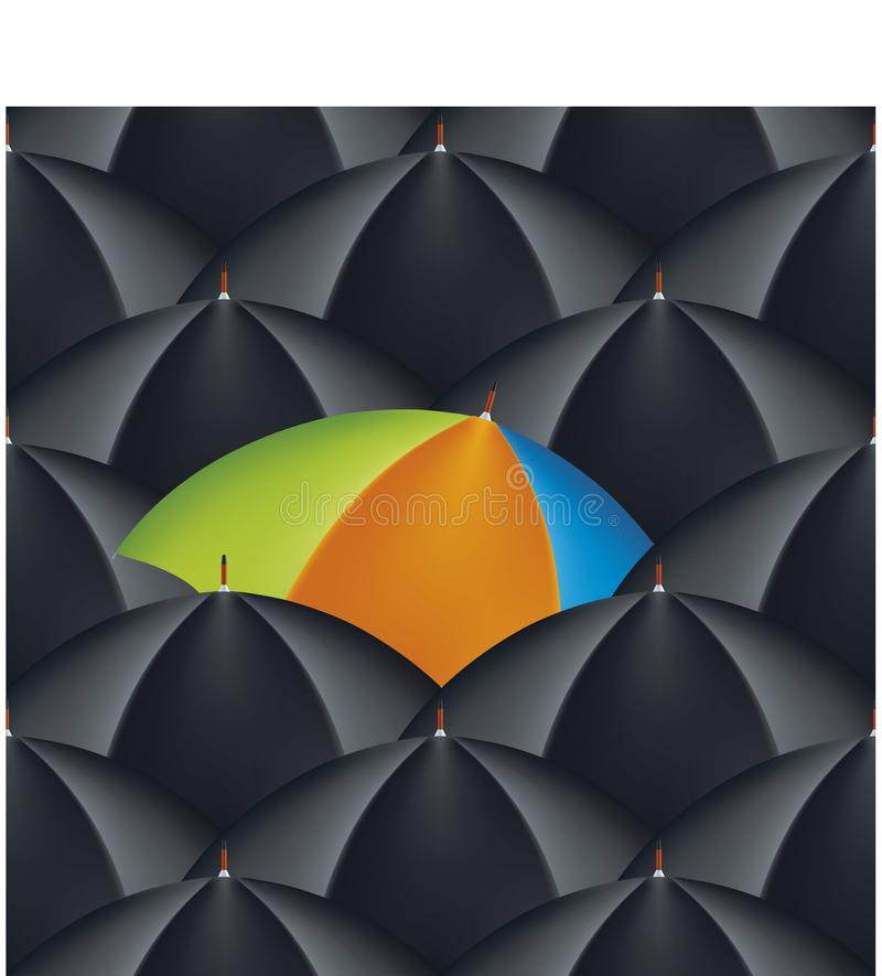 Exklusivt paraply in i ett hav av gemensamma stycken Seamless bakgrund vektor illustrationer