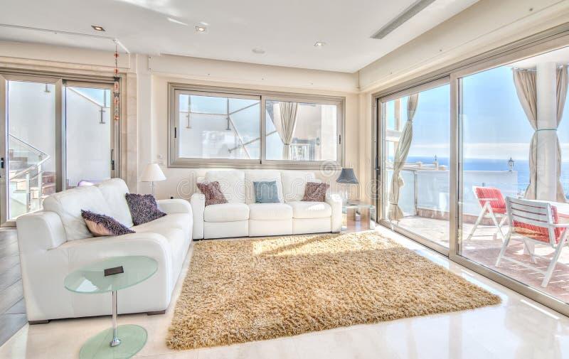 Exlusive living room in villa modern. Nice living room in villa modern royalty free stock photo