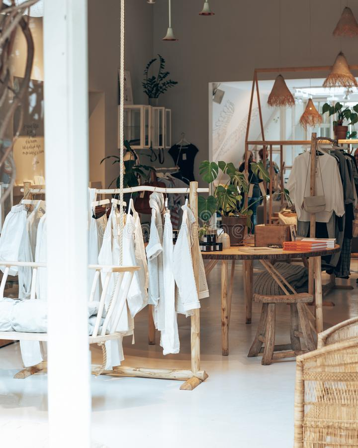 An exlusive pop up / fashion store with cool interior. Viewed from outside stock photography