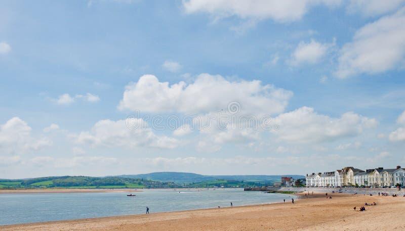 The coastline towards Exmouth. Exmouth beach Devon England united kingdom stock image