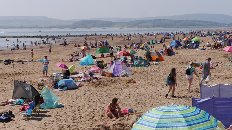 Exmouth. A popular seaside resort in Devon. South West England.Crowds flock to the beach on May Bank Holiday Sunday 2018. Exmouth. A popular seaside resort in stock photography