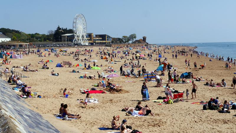 Exmouth. A popular seaside resort in Devon. South West England.Crowds flock to the beach on May Bank Holiday Sunday 2018. Exmouth. A popular seaside resort in stock photo