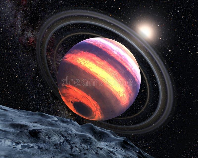 Exo-Planet mit Lavastreifen und -ringen im Weltraum, Ansicht von seinem Mond stock abbildung