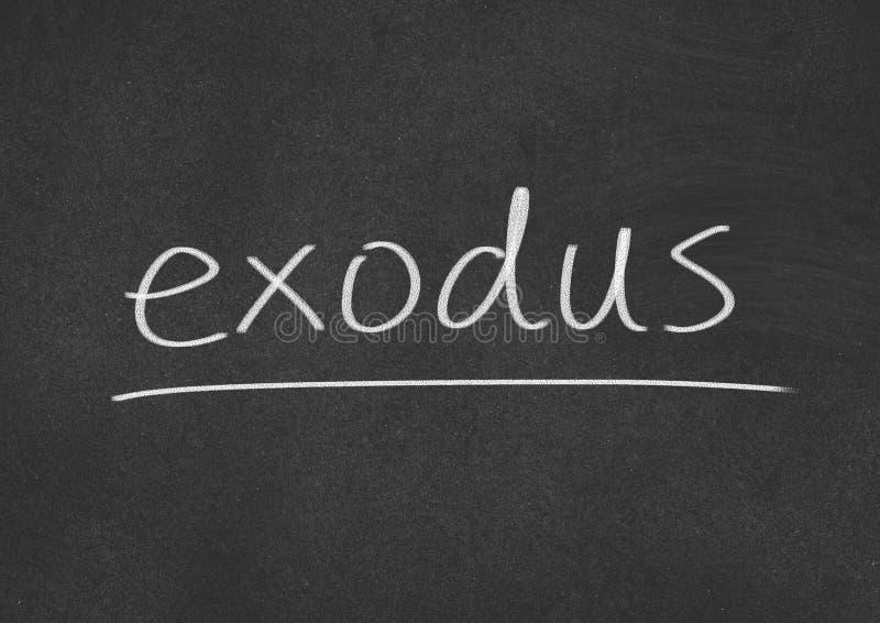 Exodus. Concept word on blackboard background royalty free stock image