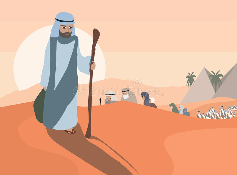 Exodus from Egypt. Exodus of Jews from Egypt - vector illustration of haggadah royalty free illustration