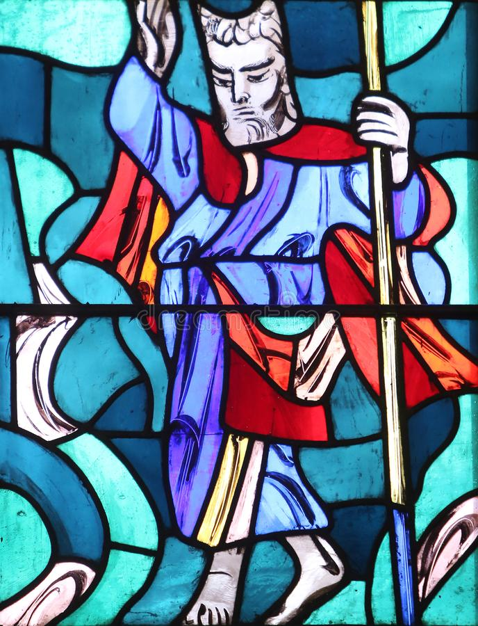 Exodus, Moses. Stained glass window in Basilica of St. Vitus in Ellwangen, Germany royalty free stock images