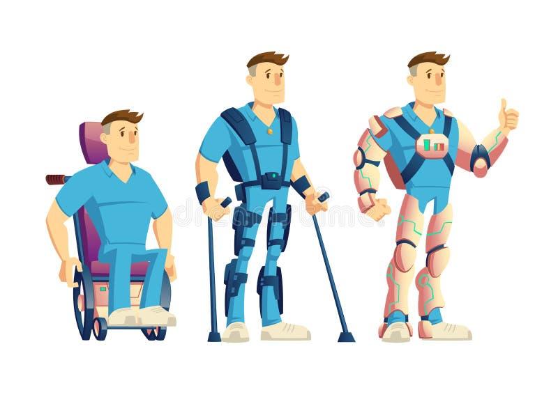 Exoesqueletos para el vector de la historieta de las personas discapacitadas libre illustration