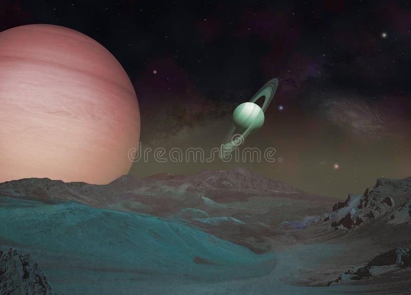 Exomoon und exoplanet in einem Weltraum lizenzfreie abbildung