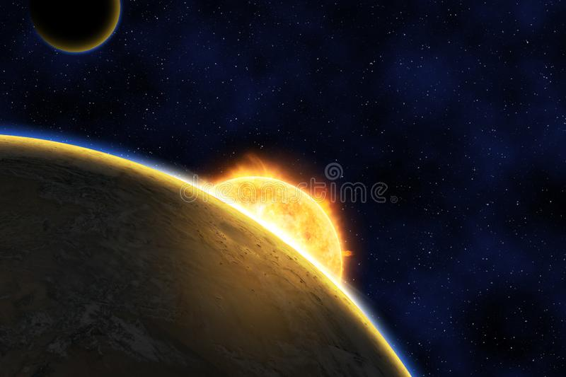 Exoplanet against bright star, night blue sky starry night. Exoplanet against bright star, elements of this image furnished by NASA royalty free stock photography