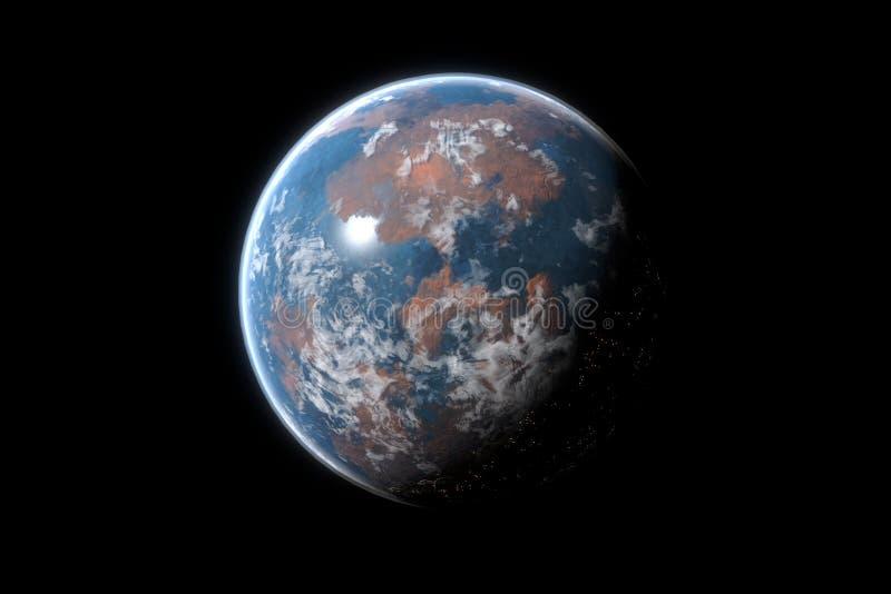 Exoplanet di Desertic con vita ed atmosfera royalty illustrazione gratis