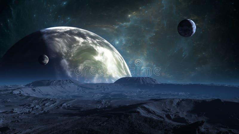 Exoplanet eller Extrasolar planet med atmosfär och månen royaltyfri illustrationer