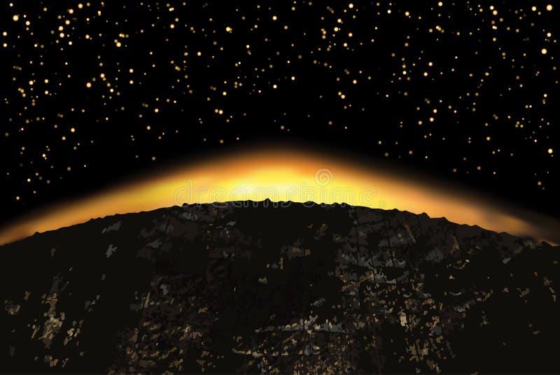 Exoplanet eller extrasolar planet också vektor för coreldrawillustration stock illustrationer