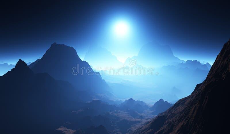Exoplanet eller extrasolar planetlandskap med atmosfär stock illustrationer