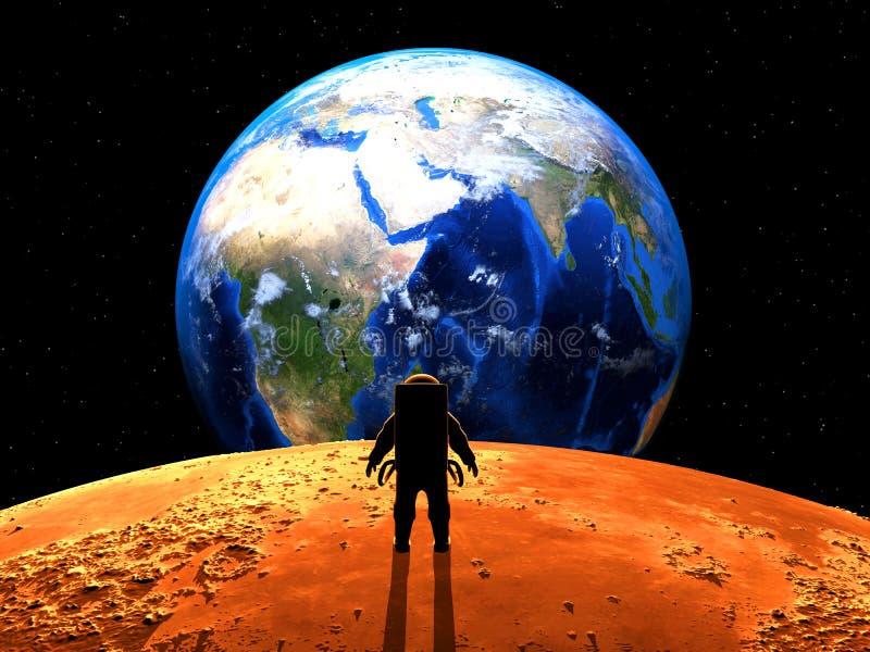Exoplanet Exploration. 3D Rendered. Exoplanet Exploration - Fantasy and Surreal Landscape. 3D Rendered royalty free illustration