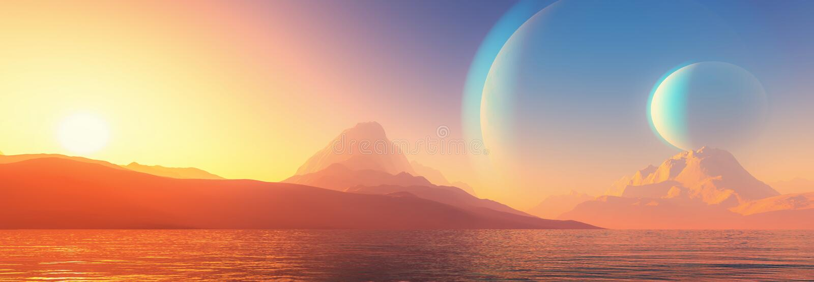 Exoplanet fantastiskt landskap royaltyfri illustrationer