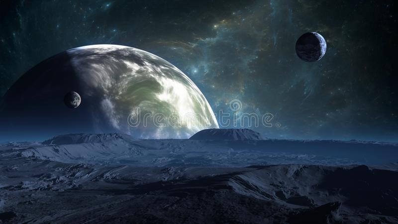 Exoplanet oder Extrasolar Planet mit Atmosphäre und Mond lizenzfreie abbildung