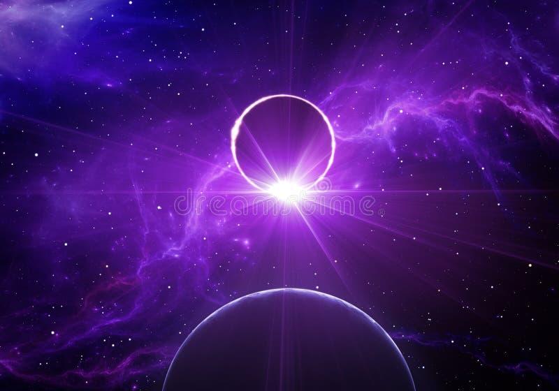 Exoplanet przechodzi przed swój gospodarz gwiazdą w głębokiej przestrzeni Gwiazdowy zaćmienie ilustracja wektor