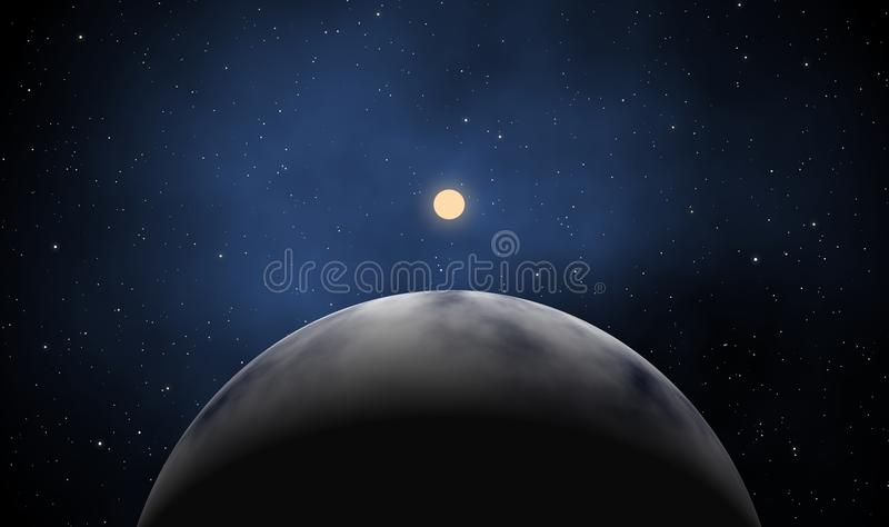 Exoplanet with rising sun in deep universe vector illustration