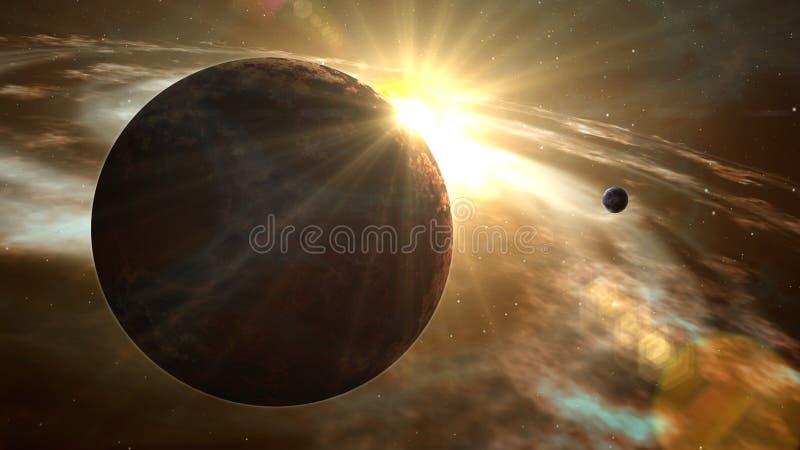 Exoplanet-Sonnenaufgang und Kosmoserforschung lizenzfreie abbildung