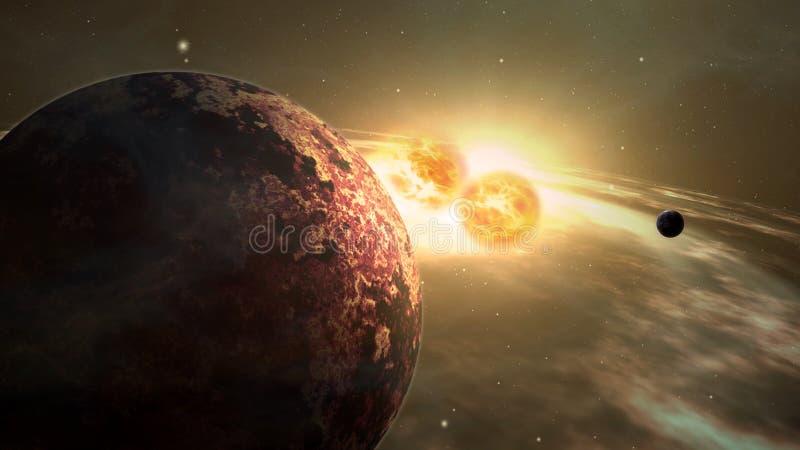 Exoplanet sunrise double star system vector illustration