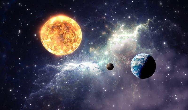 Exoplanets或太阳系行星在背景星云 向量例证