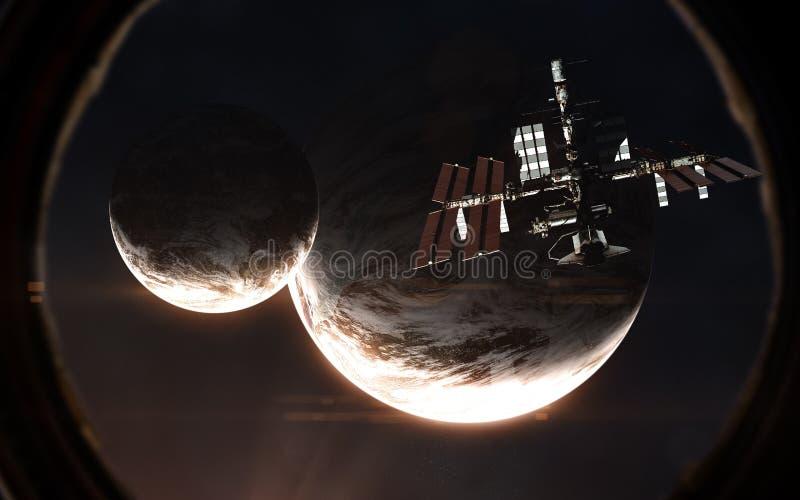 Exoplanets και ISS στην παραφωτίδα του διαστημοπλοίου Βαθύ διάστημα λαμβάνοντας υπόψη το κόκκινο αστέρι Τα στοιχεία της εικόνας ε στοκ εικόνα