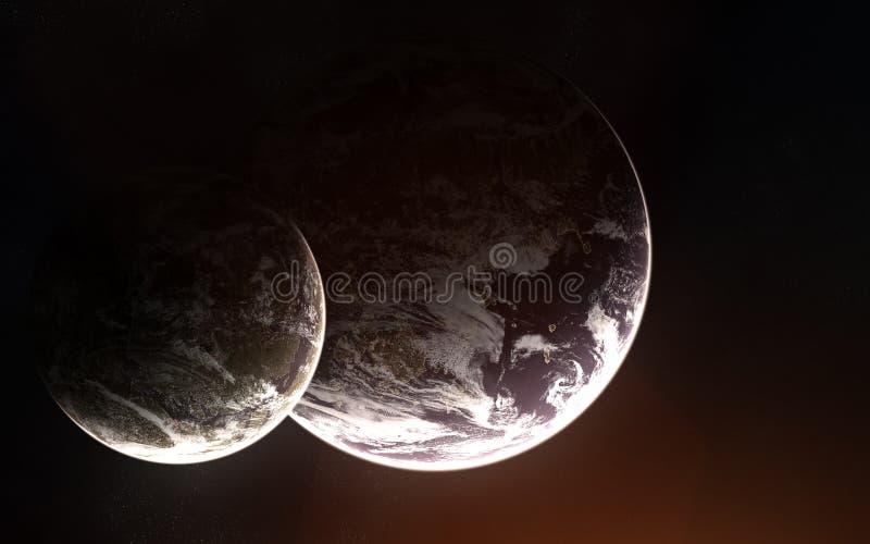 2 exoplanets с атмосферой в глубоком космосе Абстрактная научная фантастика Элементы изображения поставлены NASA стоковые фото