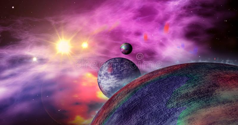 Exoplanets in distant galaxy stock illustration
