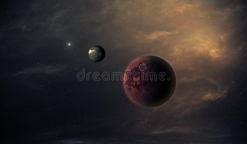 Exoplanets eller Extrasolar planet med stjärnor på bakgrunden av nebulosan stock illustrationer