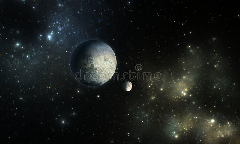 Exoplanets eller Extrasolar planet med stjärnor på nebulosabakgrund vektor illustrationer