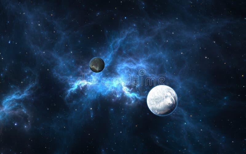 Exoplanets eller Extrasolar planet med stjärnor på nebulosabakgrund stock illustrationer
