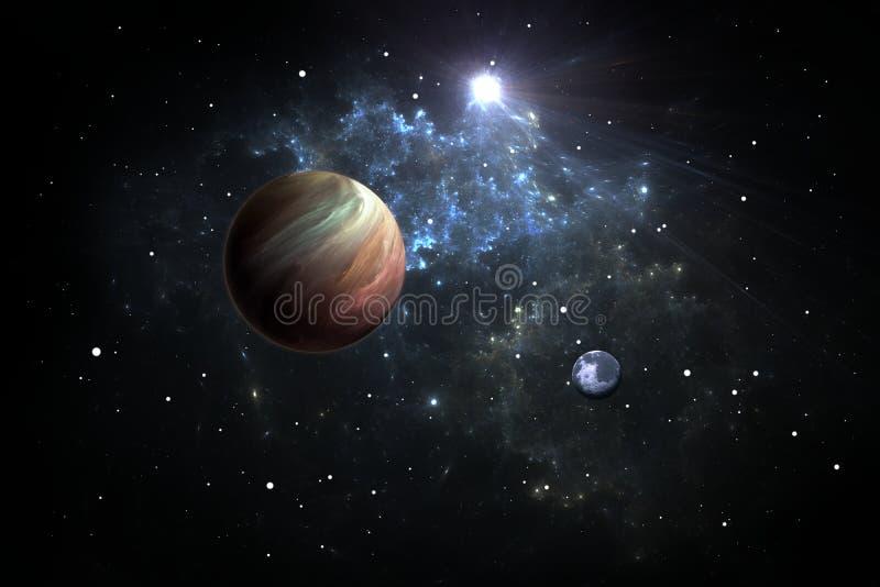 Exoplanets eller Extrasolar planeter med stjärnor på bakgrundsnebulosan vektor illustrationer