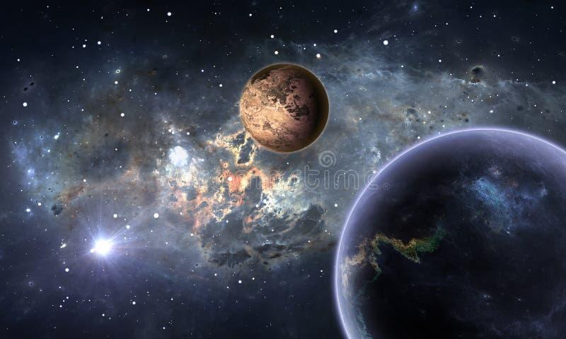 Exoplanets eller Extrasolar planeter med stjärnor på bakgrundsnebulosan royaltyfri illustrationer