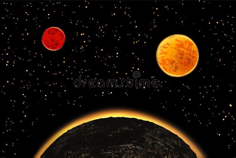 Exoplanets eller extrasolar planeter också vektor för coreldrawillustration stock illustrationer