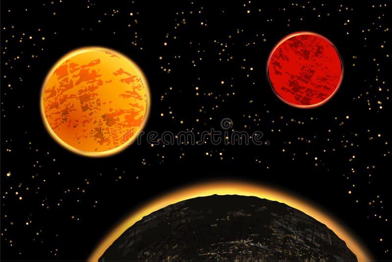 Exoplanets eller extrasolar planeter också vektor för coreldrawillustration vektor illustrationer