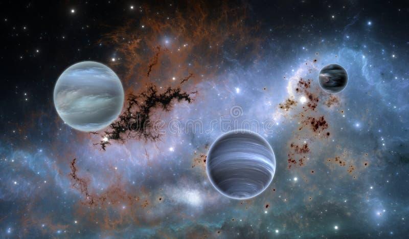 Exoplanets eller Extrasolar planeter på bakgrundsnebulosan stock illustrationer