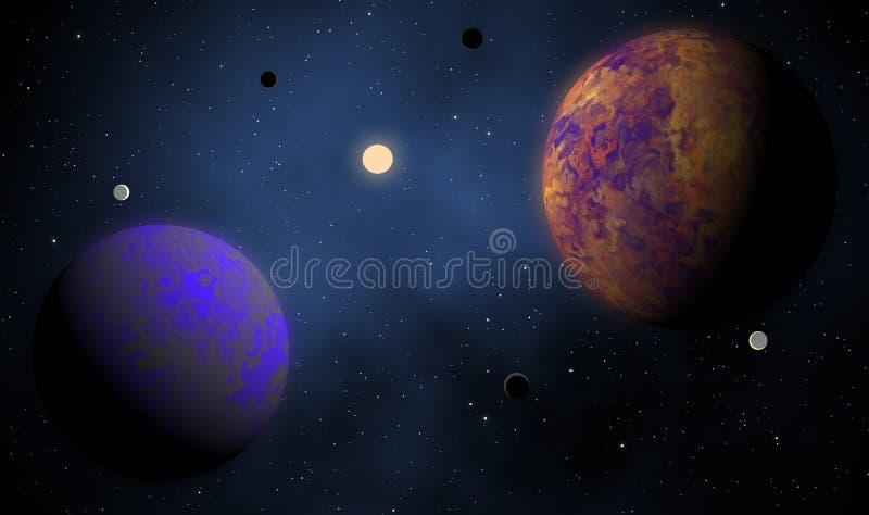 Exoplanets em um fundo estrangeiro do projeto de sistema solar ilustração stock
