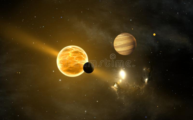 Exoplanets or extrasolar planets vector illustration