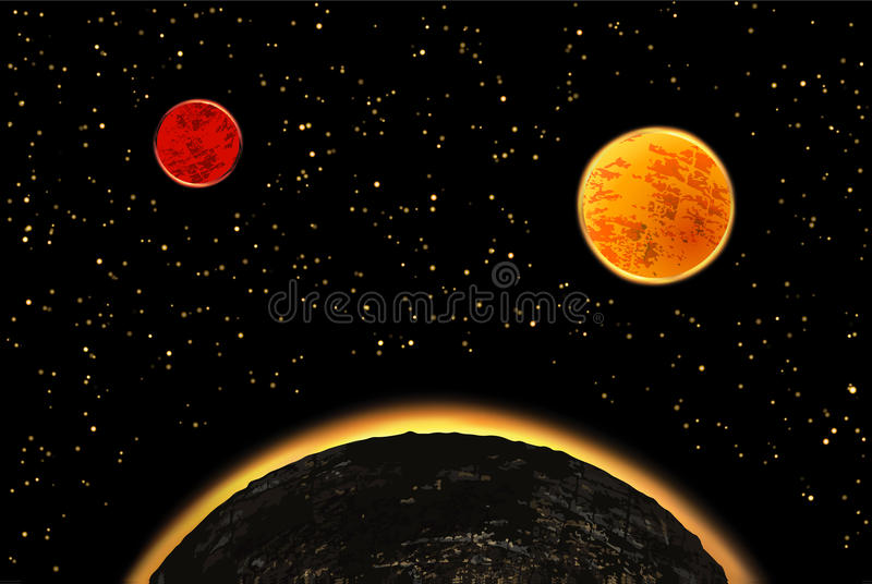 Exoplanets or extrasolar planets. Vector illustration. stock illustration