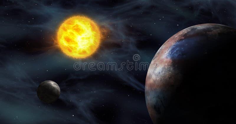 Exoplanets no sistema solar estrangeiro ilustração stock