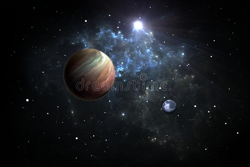 Exoplanets oder Extrasolar Planeten mit Sternen auf Hintergrundnebelfleck vektor abbildung