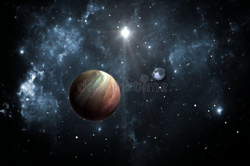 Exoplanets oder Extrasolar Planeten mit Sternen auf Hintergrundnebelfleck lizenzfreie abbildung
