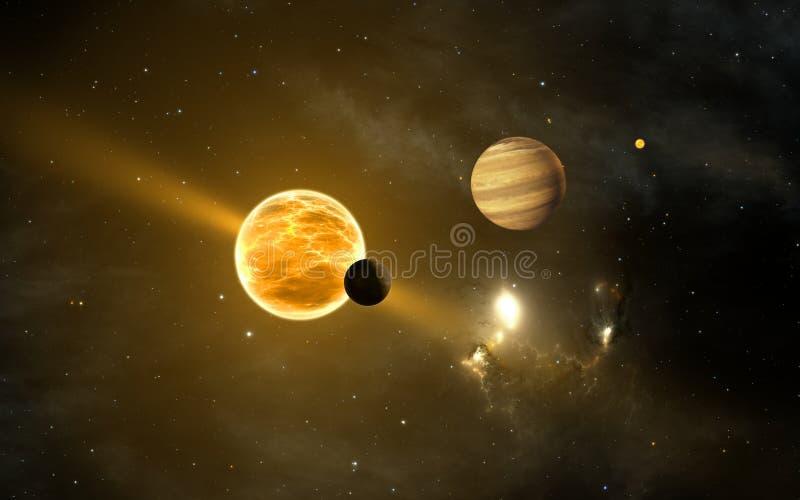 Exoplanets ou planetas extrasolar ilustração do vetor